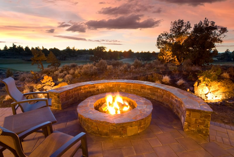 Fire Pit with Chairs and Seating Wall