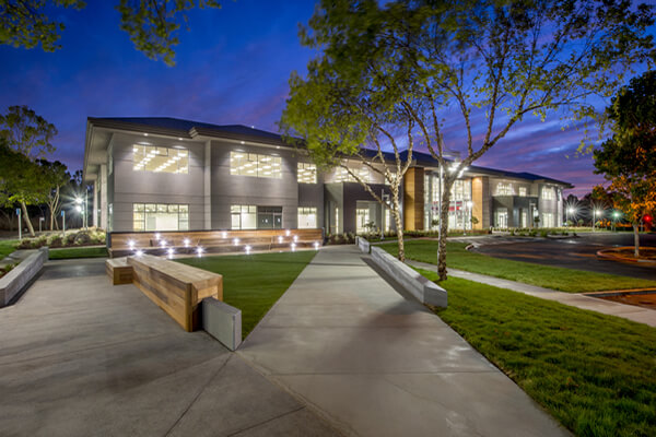 Commercial Building with Landscape Lighting