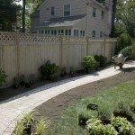 Cedar Fence and Paver Walkway