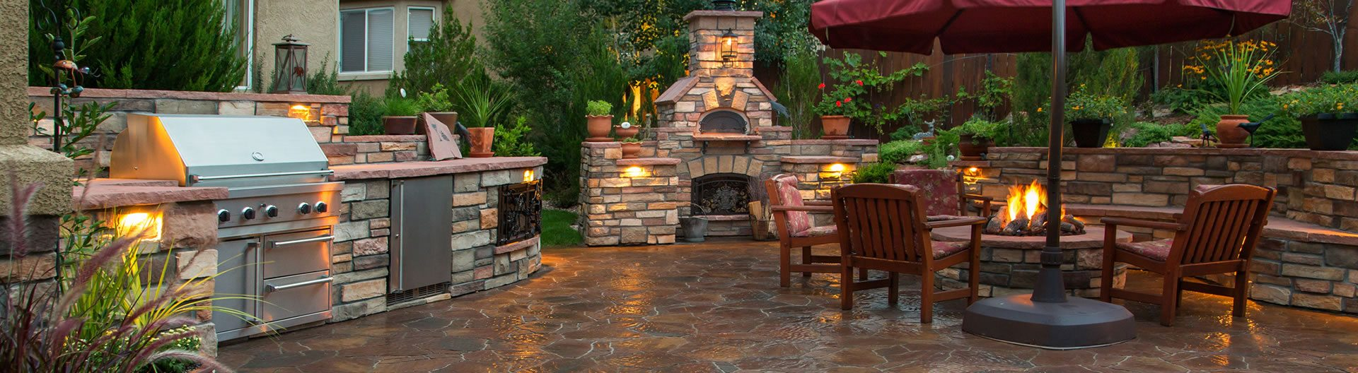Hardscaping Work including outdoor kitchen, fireplace, firepit, patio