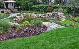 Completed Landscape Design with Pond