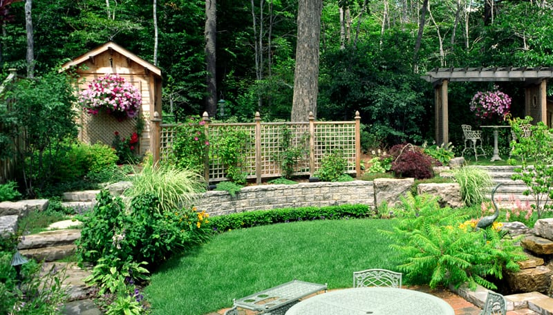 Outdoor Living Space with Latticework Fence