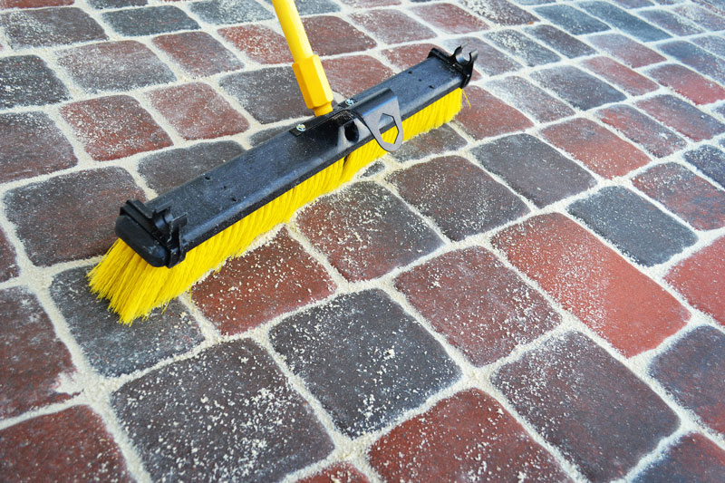 Sweeping a Paver Patio
