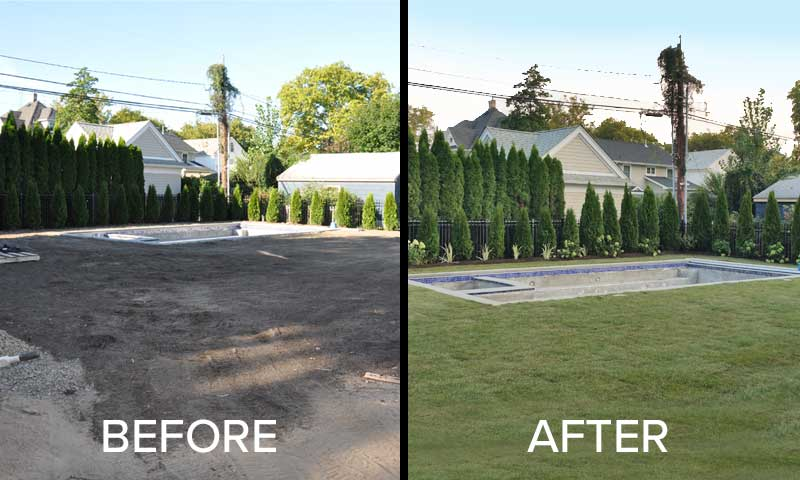 sod-tranformation, before and after lawn renovation with new sod