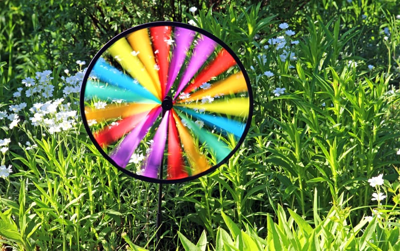 Wind Wheel Lawn Ornament to Discourage Deer